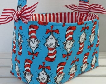 Easter Fabric Egg Hunt Basket Storage Bin - Made with Licensed Cat in the Hat Faces Head Fabric