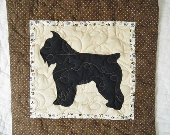 Bouvier des Flandres - Quilted Dog throw pillow 16 inches