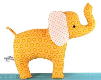 Elephant Baby Rattle - Soft Toy - Tangerine Orange