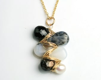 Gemweave Stone Necklace in Black Sapphire, Spinel and Pearl Mix