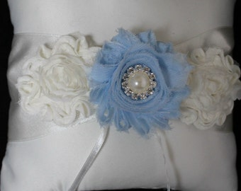 Cream or White Ring Bearer Pillow with Shabby Chic Trim in Ivory and Baby Blue Pearls and Rhinestone