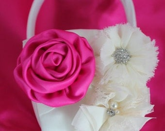Cream or White Flower Girl Basket Rolled Satin Flower in Hot Pink and Frayed Chiffon Flowers all with Rhinestones and Pearls-Custom Colors