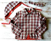 Viyella Plaid Zip Up Jacket with Cap for the Well Dressed Child Boys Size 6