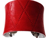 Red Diamond Quilted Leather Cuff Bracelet - by UNEARTHED