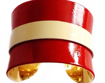 Red and Ivory Stripe Patent Leather Cuff Bracelet - by UNEARTHED