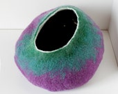Cat Cave / Bed / House / Vessel - Hand Felted Wool - Purple to Green Bubble - Crisp Contemporary Design -- READY TO SHIP