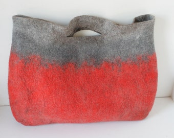 Sturdy Heavy Duty Tan Extra Large Art Bag / Cottage/ Tote / Shopping / Market / Picnic / Hand felted wool / Wearable Art