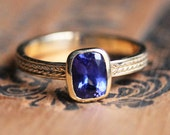 Tanzanite ring gold, wheat braid ring, tanzanite engagement ring, braided ring, recycled gold, bezel engagement ring, ready to ship size 7