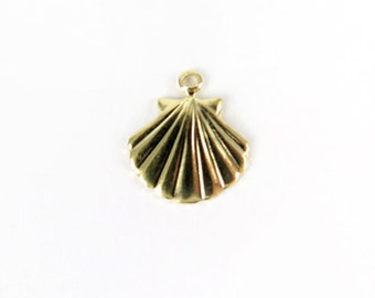 Small Vintage Gold Plated Sea Shell Charms (8X) (V329)