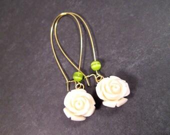 Flower Earrings, Rose Blossoms, White Green and Gold, Long Dangle Earrings, FREE Shipping U.S.