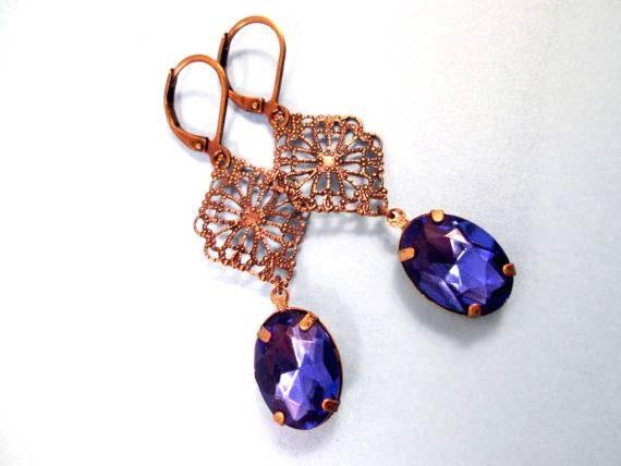 Rhinestone Earrings, Indigo Blue Acrylic Rhinestones and Brass Filigree, Dangle Earrings, FREE Shipping U.S.