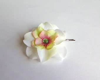 Ivory, Pale Green, Pink Hydrangea Flower Hair Pin