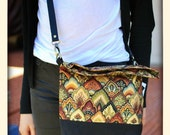 Foldover Crossover Bag in Autumn Leaves Print