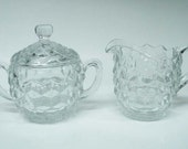 Fostoria American Creamer &  Sugar Covered Large
