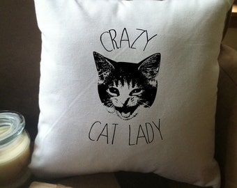 crazy cat lady throw pillow cover