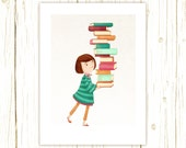 Library Girl 3 Art Print -- librarian, teacher, book, reader, geek, nerd, gift, red head, red hair, auburn