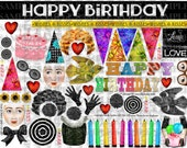 ART TEA LIFE Happy Birthday Collage Sheet Journal Page Scrapbooking clip art Digital File paper doll card gift tag altered art parts
