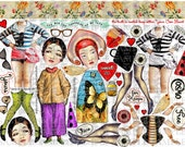 ART TEA LiFE Uptown Girl Paper Dolls Collage Sheet digital file printable download decoupage clip art scrapbook journalling page