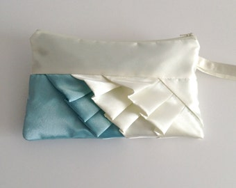 Aqua and Ivory Diagonal Satin Ruffle Wristlet