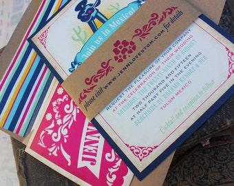 Festive Mexico Wedding Invitation (Tulum, Mexico) - Design Fee