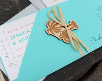 Tropical Palm Tree Boarding Pass Wedding Invitation (Fiji) - Design Fee