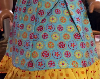 American Girl Doll Clothes - Aqua Springtime Skirt