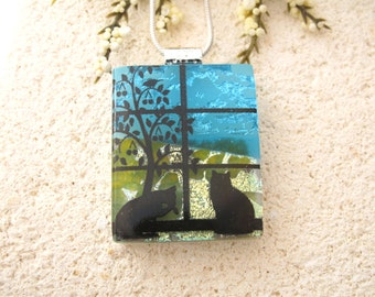Cat Necklace, Cat Jewelry, Fused Dichroic Glass Pendant, Cat Pendant, Glass Necklace, Dichroic Glass Jewelry Cat Necklace, 042815p100