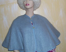 Mohair Shawl 100 percent Woven Mohair Baby Blue Vintage Sweater Cape Capelet Fuzzy Sweater Shawl