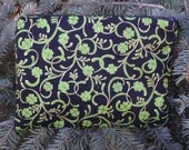 Irish zippered bag, makeup case, zippered pouch, accessory bag, Gilded Shamrocks, The Scooter