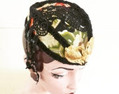 Swan Royale  vintage Japanese obi silk hostess hat/fascinator