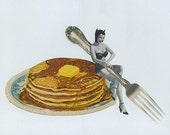 Hotcakes, devilishly tempting.  Limited edition collage print by Vivienne Strauss.