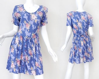 Vintage 90s Floral Babydoll Dress - Size Medium - Blue Rose Print Crinkle Gauze Tie Back Women's Dress