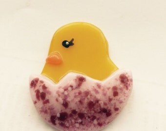 Fused Glass Chick-n-Egg Brooch Pin