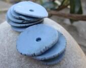 Blue Porcelain Wafer Beads