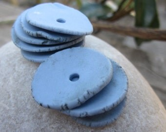 Blue Porcelain Wafer Beads