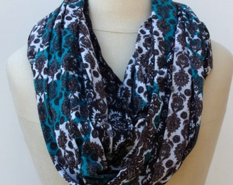 Cotton Infinity scarf Loop scarf block print scarf circle scarf handmade from Indian dupatta black teal Eternity scarf  Boho