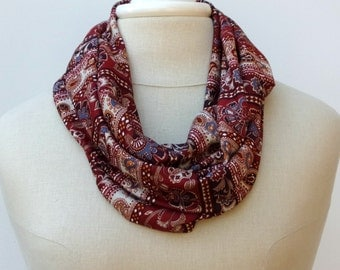 Sale Little Seventies fabric scarf, infinity scarf loop scarf eternity collar paisley handmade cowl