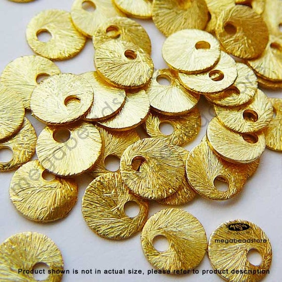 40 pcs 6mm Vermeil Gold Disc Charms Brushed Charms Top Drill Dangles F163V