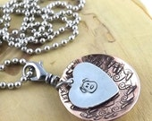 Puppy Love copper and aluminum hand stamped pendant necklace