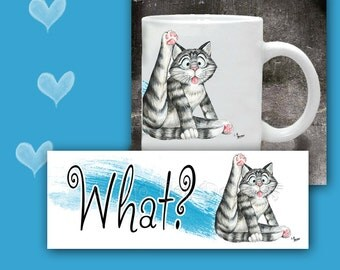 CAT MUG. What?... Kitty wants to know what you are looking at.. Cat Coffee Mug