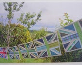 """Printed Art Card - """"Green Britain"""" Flags Image - Patchwork Union Jacks Image"""