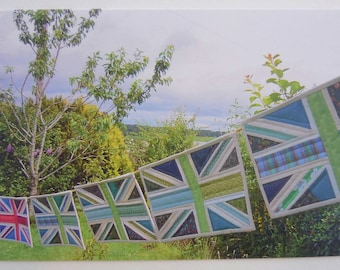 "Printed Art Card - ""Green Britain"" Flags Image - Patchwork Union Jacks Image - Greetings, Birthday, Thank You, Blank"