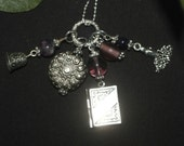 Magical Bell, Book and Candle Charm Necklace - with amethyst on a chain -  Pagan, Wicca, Witchcraft, gemstone