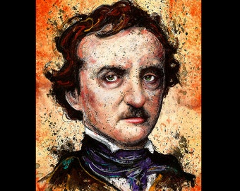 "Print 8x10"" - Edgar Allan Poe - Poetry Author The Raven Nevermore Murders in the Rue Morgue Dark Art Horror Gothic Mustache Pop Lowbrow"