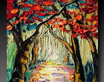 Oil Painting  TREE ART B. Sasik  Painting Original Palette Knife