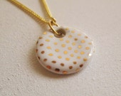 "White and Gold Polka Dot Ceramic Necklace 18"" Chain Gold Finish"