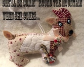 Goat with a Guitar Quilty Critter - Novelty, Decoration, OOAK, Folk Art, Billy Goat