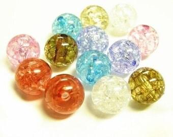 20pc 12mm mix acrylic transparent round beads-1722