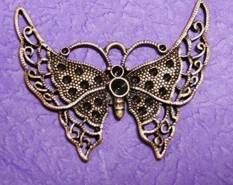 1pc antique copper butterfly fancy metal pendant-1957