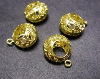 4pc gold finish hollow copper nickel free pendant-2044x2